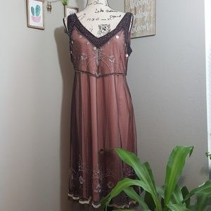 ICE Pink and Brown Embellished Shift